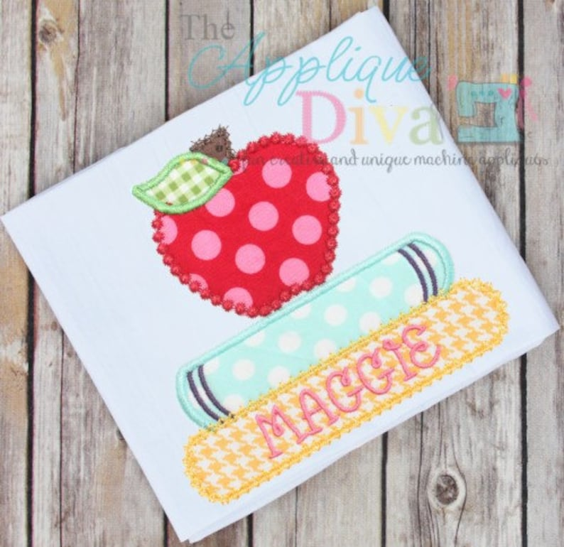 Back to School Books with Apple Digital Embroidery Design image 0