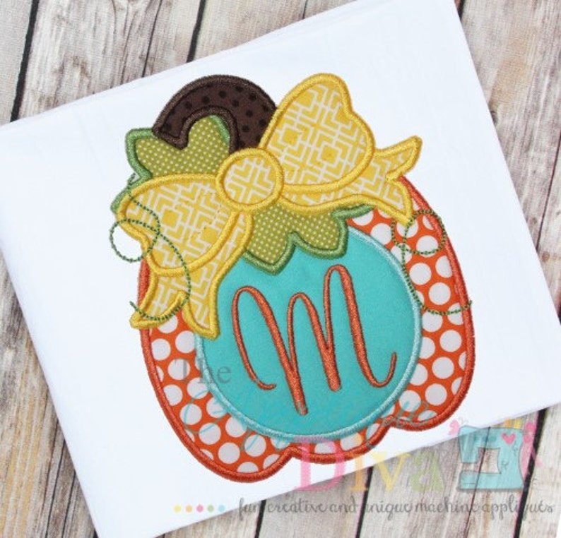 Fall Pumpkin with Big Bow  Digital Embroidery Design Machine image 0