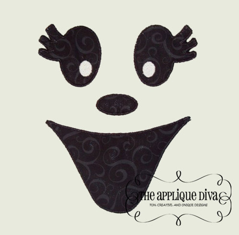 Halloween Girl Ghost Face Embroidery Design Machine Applique image 0