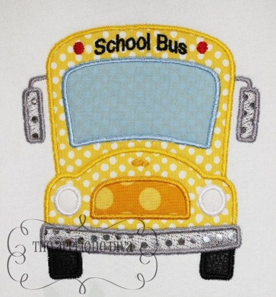 Back To School School Bus Embroidery Design Machine