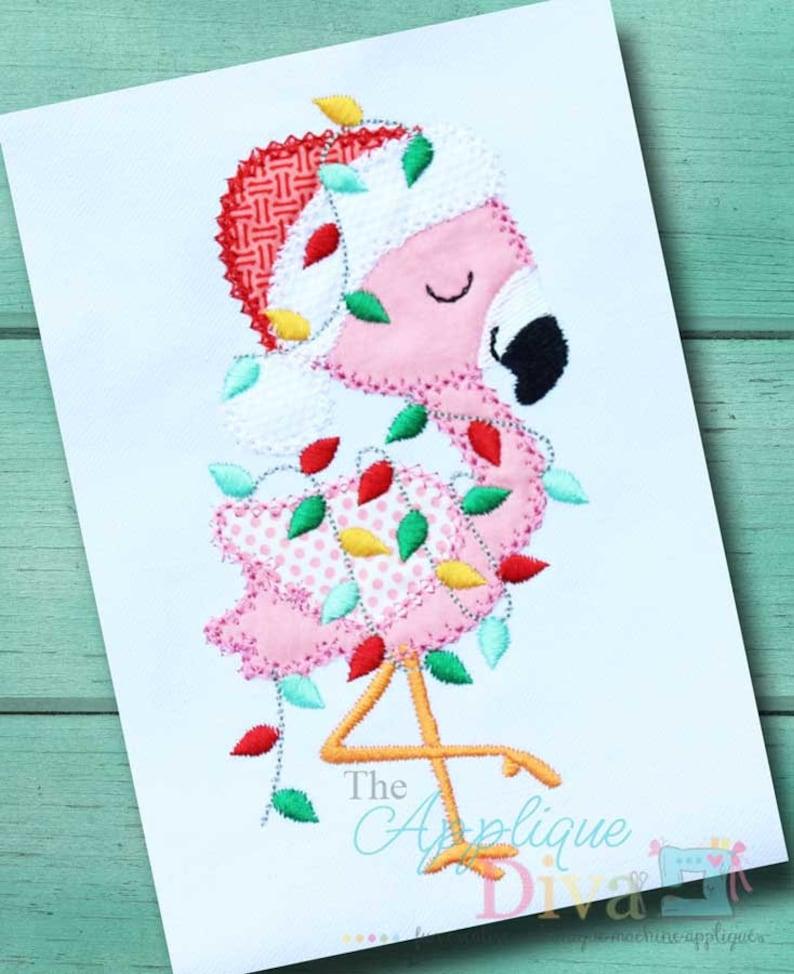 Christmas Flamingo Digital Embroidery Design Machine Applique image 0
