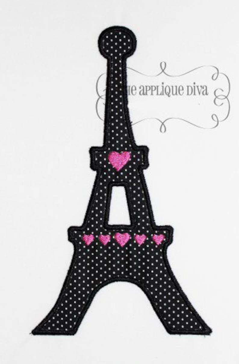 Paris Eiffel Tower  Embroidery Design Machine Applique image 0