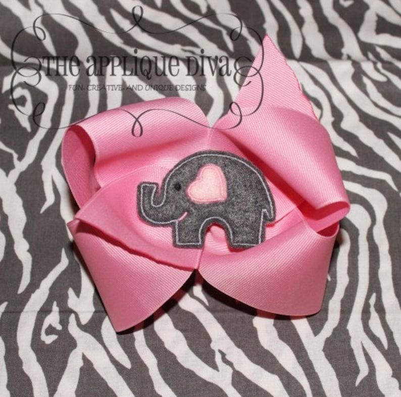Valentine Love Elephant Hair Bow Center Digital Embroidery image 0
