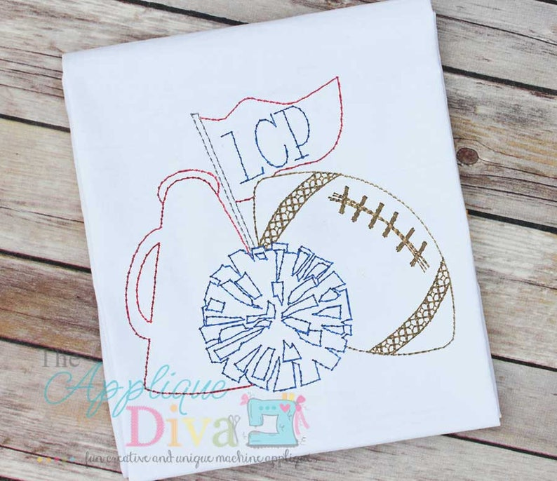 Vintage Stitch Sketch Fall Cheer with Football Digital Machine image 0