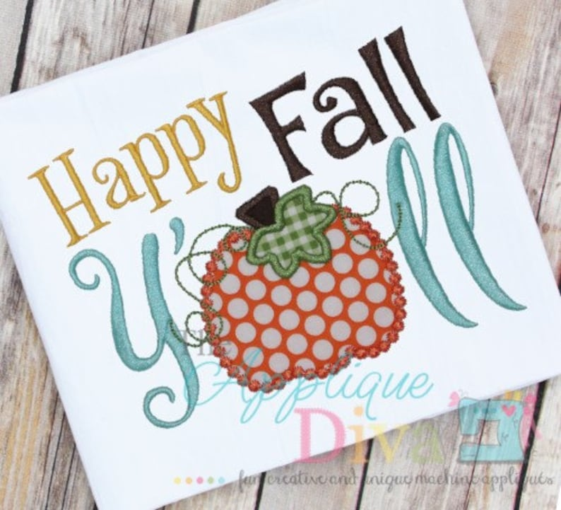 Happy Fall Y'all Digital Embroidery Design Machine image 0