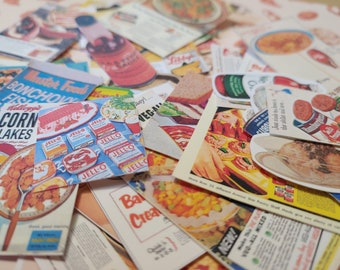 Hand Cut Vintage Food Stickers
