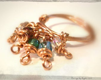 Copper Fringe Charm Ring Size 7