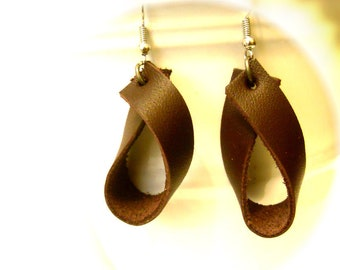 Chocolate Teardrop Leather Earrings