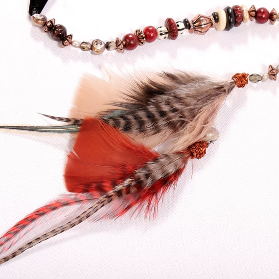 Feather Hair Extension Clip In Wild One Long Beaded Hair Etsy