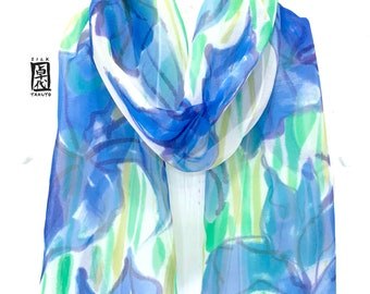 Japanese Silk Scarf, Hand Painted Silk Scarf, Blue Silk Scarf Floral, Chiffon Scarf, Silk Scarf Women, Blue Iris, Takuyo, Made to order