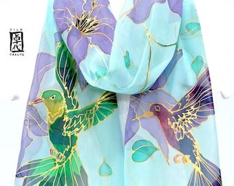 Silk Scarf Women, Hummingbird Art, Bird Scarf, Silk Scarf Hand painted, Chiffon Scarf, Aqua Scarf, Purple Clematis and Hummingbird, Takuyo