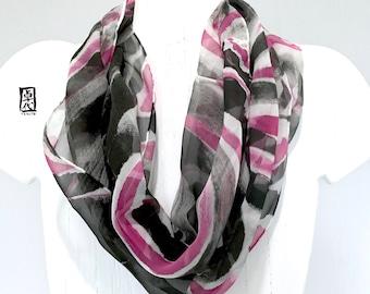 Fashion Boho Scarf Infinity, Loop Scarf Boho, Black Chiffon Scarf Spring, Black and Pink Wave, Hand Painted Silk Circle Scarf, 11x60 inch