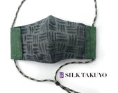 Mens Organic Linen and Silk Face Mask with filter pocket, adjustable and reusable 4 layer mask US made, hand painted Zen Gray Weave Design