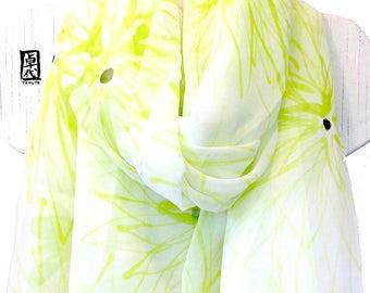 Green Chiffon Shawl, Hand Painted Silk Scarf, Summer Silk Wrap, Scarf Beach White, Chiffon Scarf, Chartreuse Green Chrysanthemum Scarf