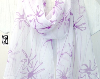 Silk Scarf Handpainted, White silk scarf, Purple Scarf, Chiffon Scarf, Purple Silk scarf, Silk Takuyo, 11x60 inches. Made to order,