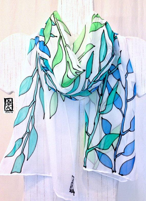 9c901fac5936 Foulard femme foulard dété en soie foulard de soie peint à   Etsy