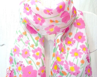 Summer Floral Scarf, Pink Spring Scarf, Hand Painted Silk Scarf, Pink Cotton Candy Daisies Scarf, Spring Fashion, Made to order 8x54 inches