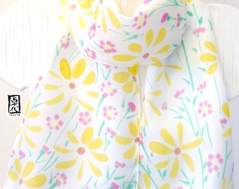 Silk Scarf Handpainted, White Silk Scarf, Yellow Scarf, White Scarf, Japanese Silk Scarf, Takuyo, Yellow and Pink Wildflower, Made to order