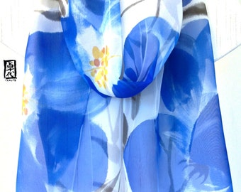 Silk Scarf, Hand Painted, Chiffon Scarf, Blue Silk Scarf, Japanese Silk Scarf, Blue Evening Primroses Scarf, 14x72 inches. Made to order