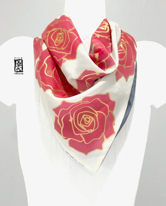 4f896239464f Silk Scarf Square Small Square Neck scarf in Gray and Red