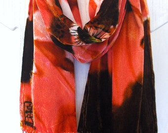 Handpainted Silk Velvet Scarf with fringes, Brown Fall Scarf, Coral Pink Poppies, Hand Dyed Silk Velvet Scarf w silk fringes. 14x72 inches.