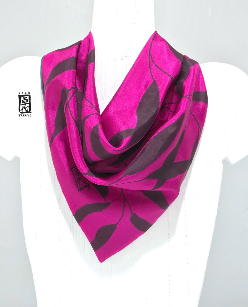 Silk Scarf Women Silk Scarf Square Silk Neck Scarf Hand Painted Silk Scarf Pink And Gray Scarf Silk Scarf Takuyo Gray And Pink Vine