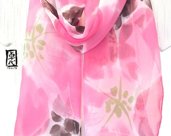 Silk Scarf Pink, Coral Pink Scarf, Handpainted Silk Scarf, Silk Scarf Floral, Pink Wild Roses and Brown Meadow Flowers, Made to order