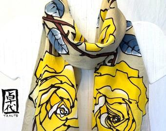 Hand painted silk scarf. Yellow Roses Beige Silk Scarf. Silk Scarves Takuyo. Made in USA. Luxury Silk. Silk Satin. 8x54 in.