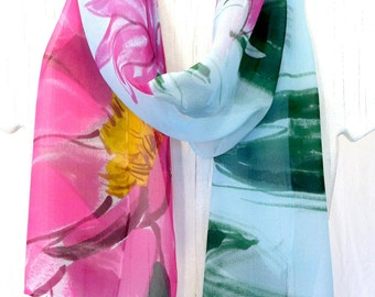 Silk Scarf, Hand Painted, Chiffon Scarf, Japanese Silk Scarf, Tranquility Pink Lotus Flowers, Summer Scarf, Takuyo, 11x60 in, Made to Order