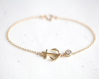 Anchor Bracelet - gold anchor bracelet with small crystal accent