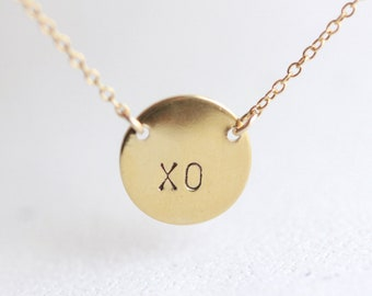 Personalized Gold Circle Initial Necklace - two letter custom initials on 14k gold fill chain, XO circle necklace