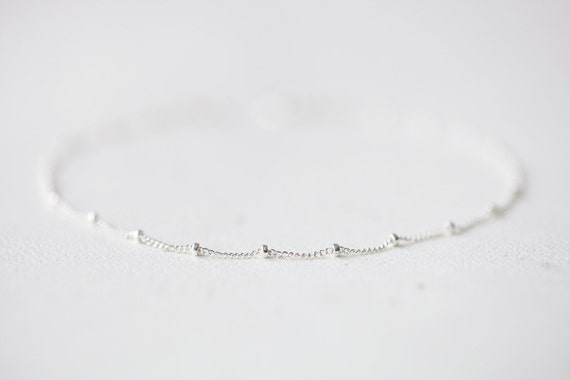 Delicate Sterling Silver Bracelet Simple And Delicate Beaded Etsy