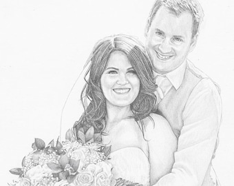 "Custom Portrait 8x10"" - Drawing From Your Photo - Two Subjects - Custom Drawing - Wedding Gift"