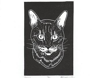 "Bengal Cat (Black) - Linocut Print - 4x6"" - Limited Edition"