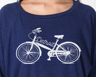 Detroit Bike Script Women's Raglan Pullover Sweater Bicycle Shirt