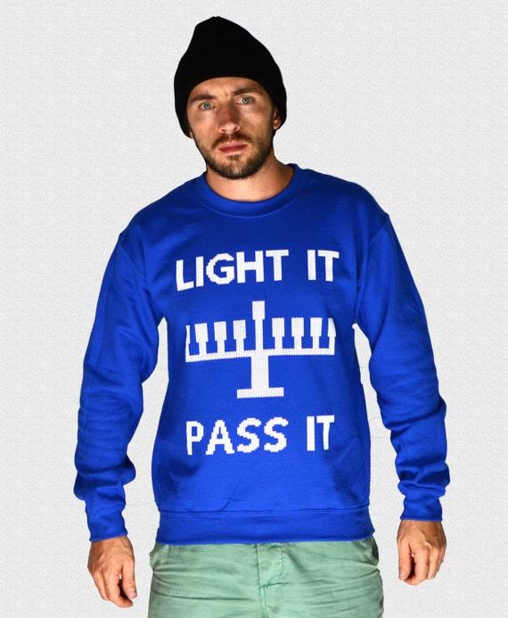 Ugly Hanukkah Sweater Light It Pass It Get Lit Funny Hanukkah Etsy