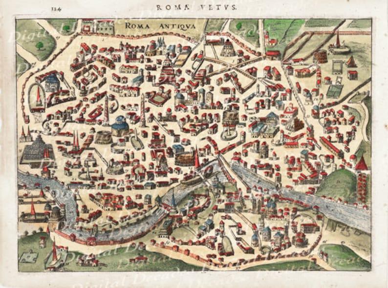 Ancient Rome Roma Roman Italy Italian City Map - Digital Image Vintage  Illustration