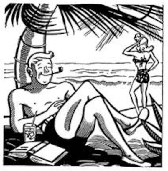 Strand comic schwarz weiß  Retro Cartoon Comic paar Mann Frau am Strand Vintage Art   Etsy