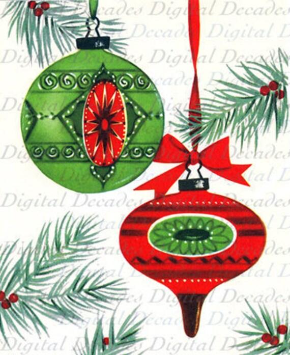 Christmas Tree Ornaments Etsy: Christmas Tree Ornaments Digital Image Vintage Retro Art