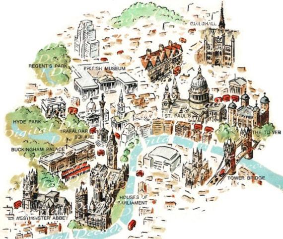 High Resolution London Tourist Map.London England Map Foreign Travel British Digital Image Vintage Art Illustration