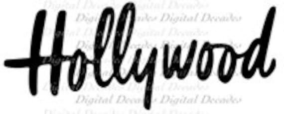 Mid-Century Hollywood Word Text - Digital Image - Vintage Art Illustration