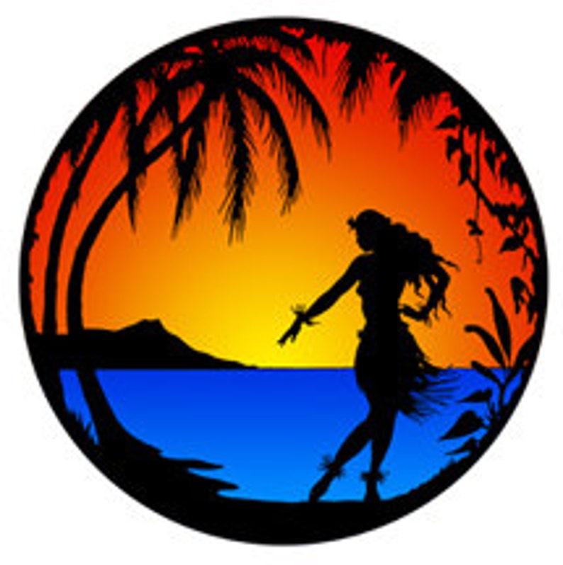 Retro Hawaii Frau Sonnenuntergang Insel Tropischen Szene Etsy
