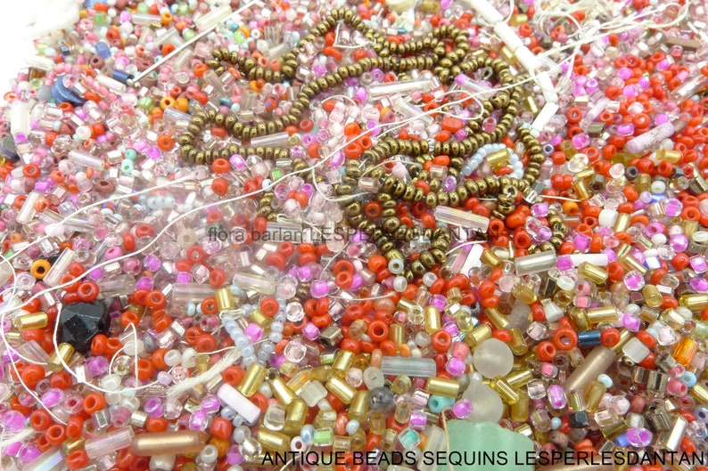 seed glass beads 180grs mix glass beads 1920s