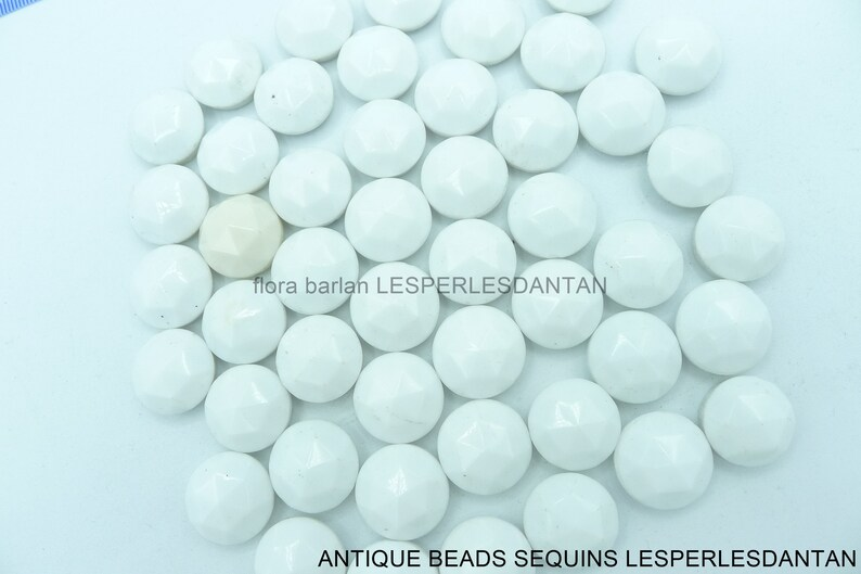 antique beads vintage cabochon white pressed glass  17mm