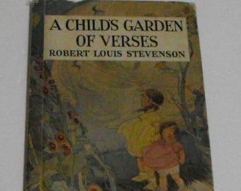 A Child's Garden of Verses Robert Louis Stevenson Vintage Hardcover 1934 Book Rand McNally and Company