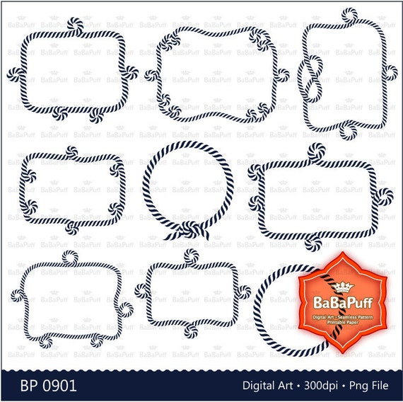9 Nautical Rope Digital Frames Clip Art. Personal and Small | Etsy