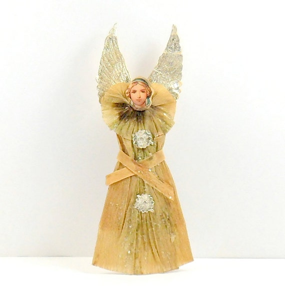 Angel Ornament Crepe Paper Scrap Face Dresden Stars Wings Germany Vintage 1800s