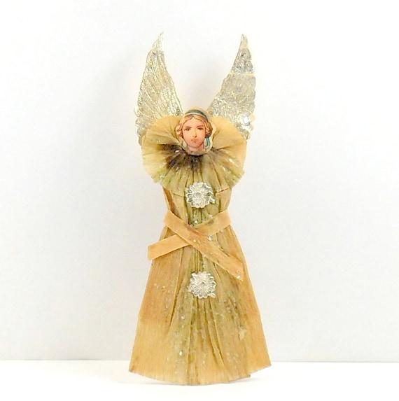 Angel Ornament Crepe Paper Scrap Face Dresden Stars Wings Germany Vintage 1800s