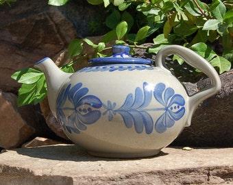 Handmade Teapot Hand Painted Cobalt Pottery