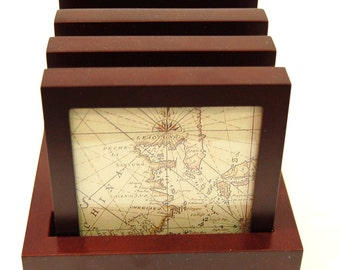 Maps Under Glass Framed Mahogany Stained Wooden Coasters